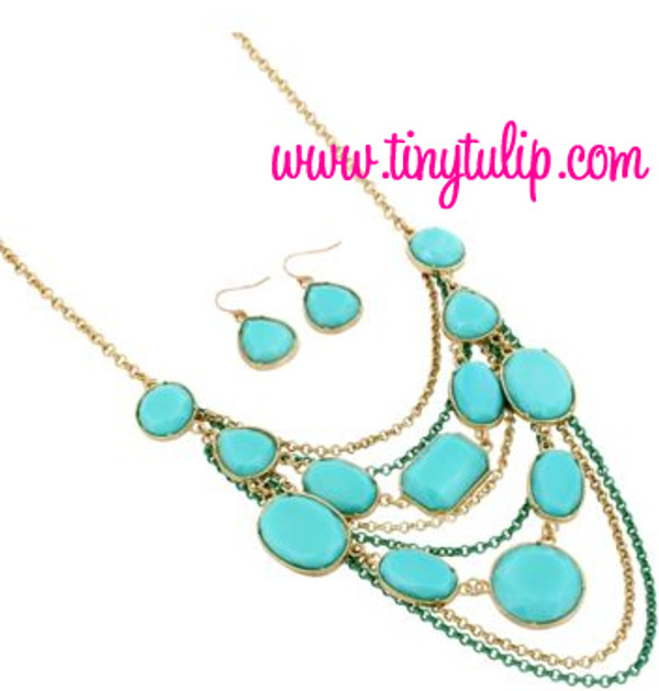 Layered Gem Chain Necklace & Earring Set  www.tinytulip.com Turquoise