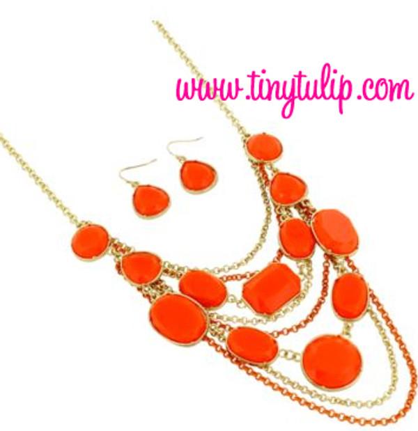 Layered Gem Chain Necklace & Earring Set  www.tinytulip.com Orange
