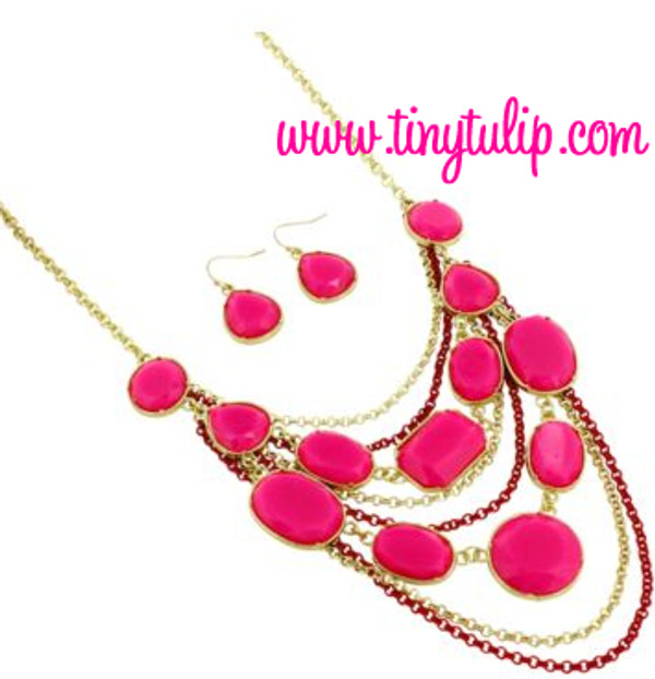 Layered Gem Chain Necklace & Earring Set  www.tinytulip.com Hot Pink