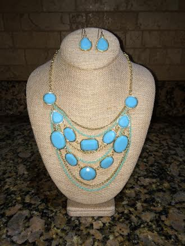 Layered Gem Chain Necklace & Earring Set