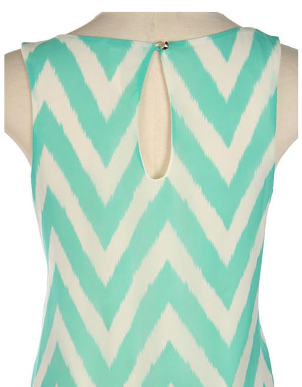 Mint Chevron Print Sleeveless Shift Dress   www.tinytulip.com