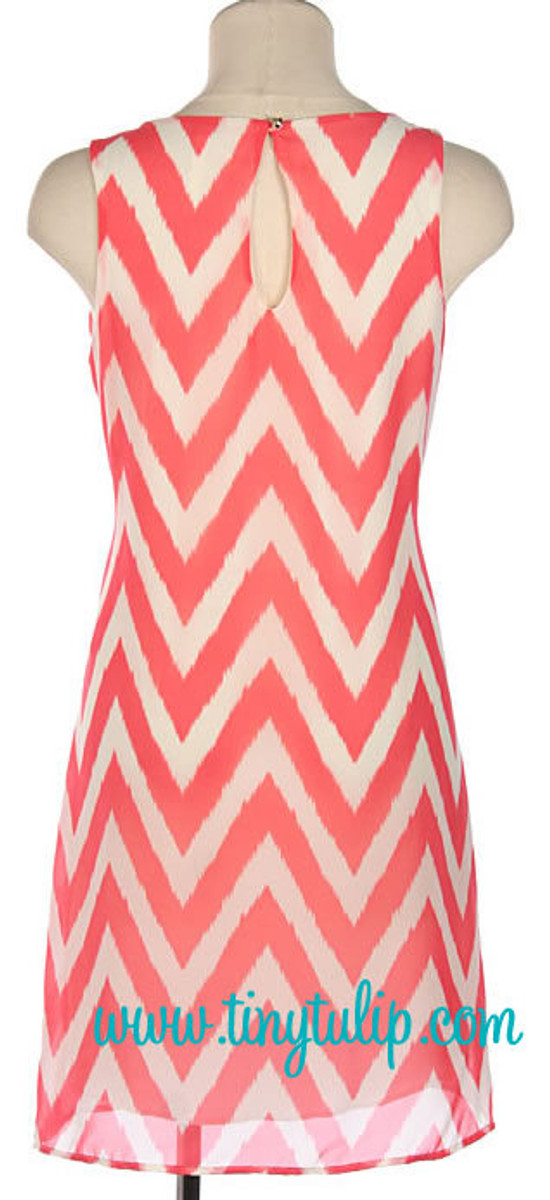 Coral Chevron Print Sleeveless Shift Dress   www.tinytulip.com
