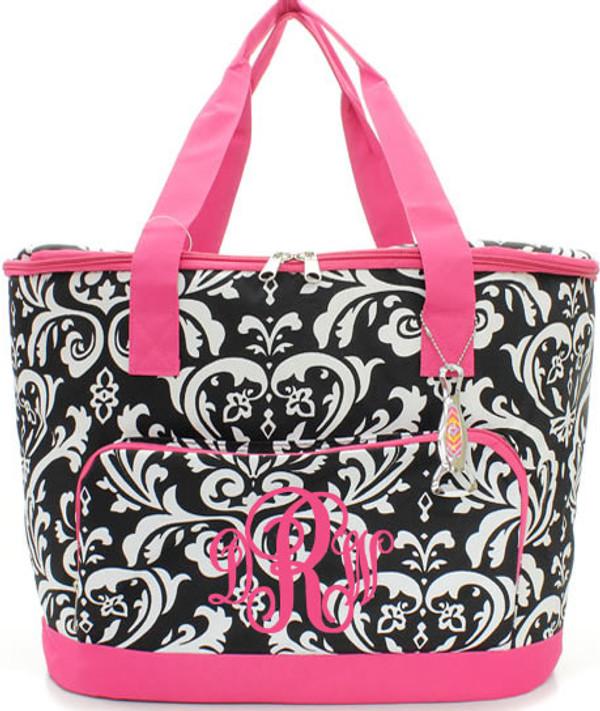 Monogrammed Damask Large Cooler Bag  www.tinytulip.com Hot Pink Trim with Hot Pink Emma Font