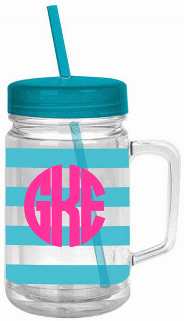 Monogrammed Double Wall Acrylic Stripe Mason Jar Tumbler  www.tinytulip.com Turquoise with Hot Pink Circle Font