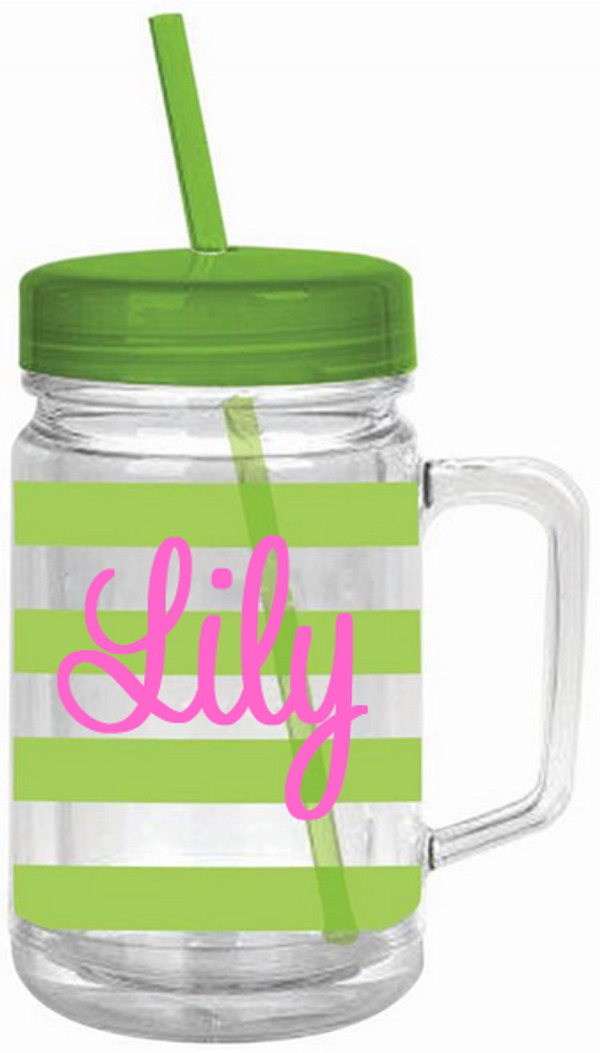 Monogrammed Double Wall Acrylic Stripe Mason Jar Tumbler  www.tinytulip.com Lime Green with Pink Cursive Font