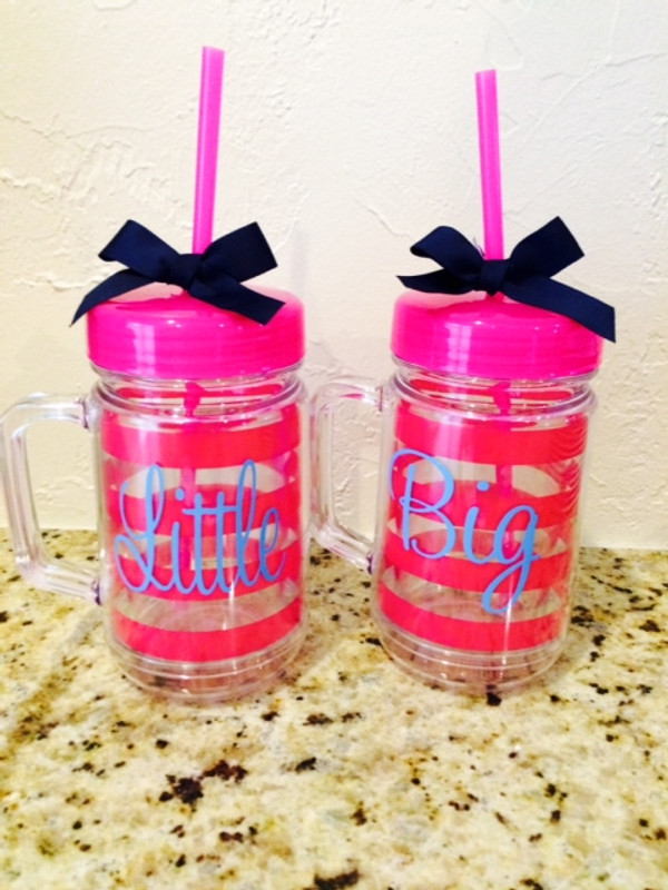 Monogrammed Double Wall Acrylic Stripe Mason Jar Tumbler  www.tinytulip.com Hot Pink with Baby Blue Cursive Font