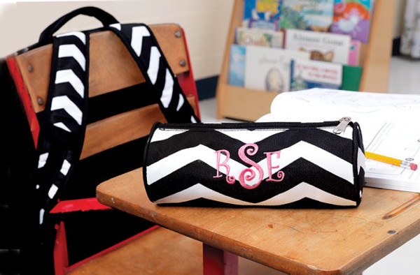 Monogrammed Chevron Pencil Case  www.tinytulip.com Black Chevron with Pink Curly Font