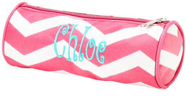 Monogrammed Chevron Pencil Case  www.tinytulip.com Hot Pink Chevron with Turquoise Curly Font