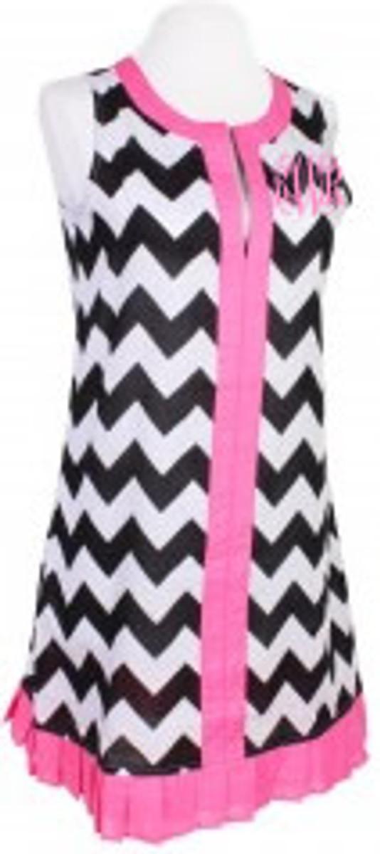 Monogrammed Chevron  Sleeveless Cover Up Dress  www.tinytulip.com Black with Hot Pink Interlocking Monogram