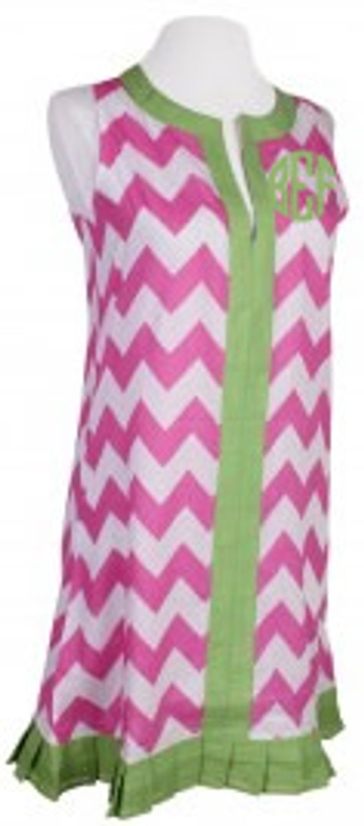 Monogrammed Chevron  Sleeveless Cover Up Dress  www.tinytulip.com Hot Pink with Lime Green Circle Monogram