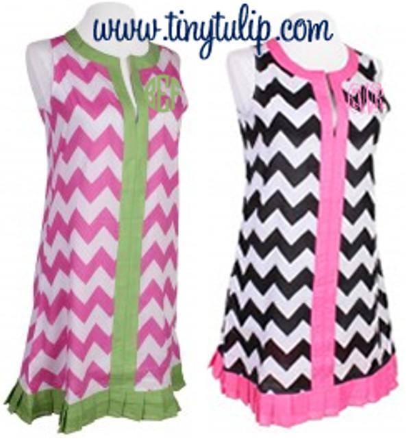 Monogrammed Chevron  Sleeveless Cover Up Dress  www.tinytulip.com