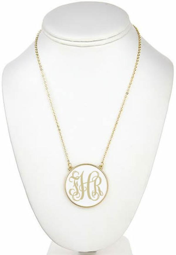 Monogrammed Enamel Disc Necklace Free Shipping  www.tinytulip.com White with Khaki Script Monogram