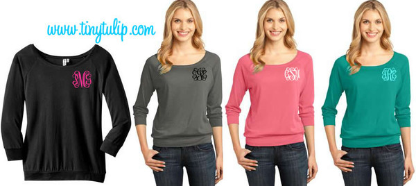 Classic Monogrammed 3/4 Sleeve Shirt  www.tinytulip.com