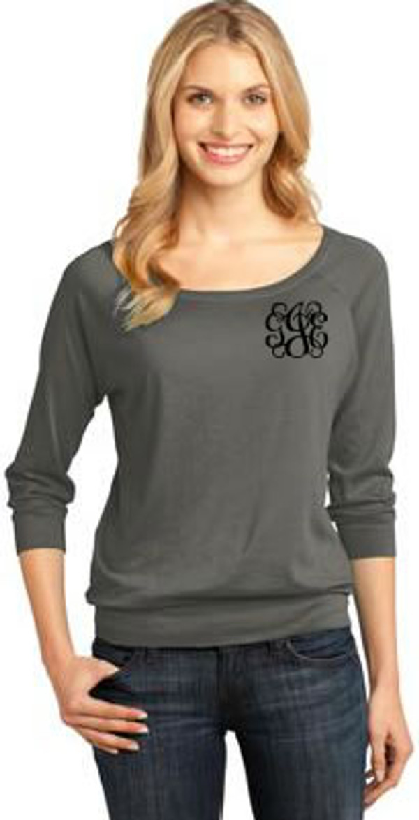 Classic Monogrammed 3/4 Sleeve Shirt  www.tinytulip.com Gray with Black Interlocking Monogram