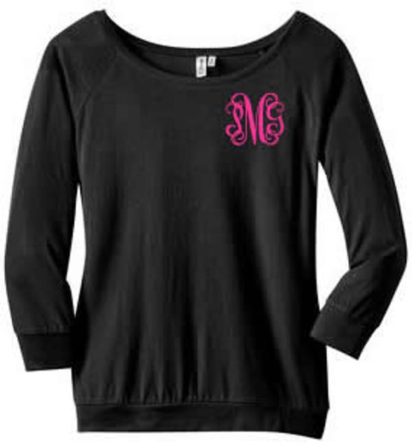 Classic Monogrammed 3/4 Sleeve Shirt  www.tinytulip.com Black with Hot Pink Interlocking Monogram