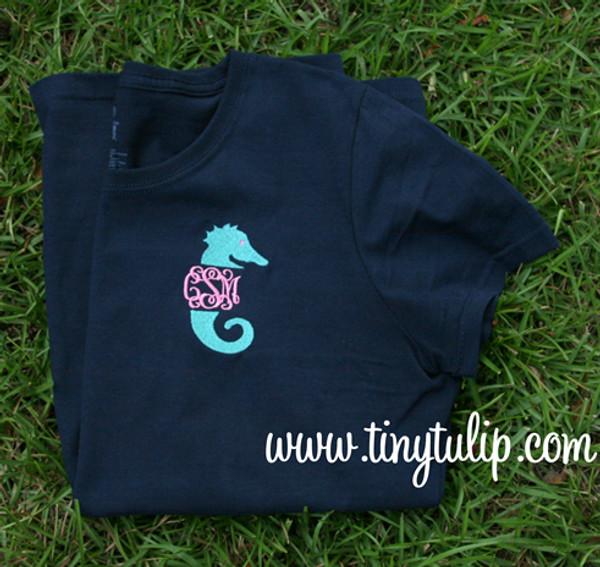 Monogrammed Seahorse TShirt   www.tinytulip.com