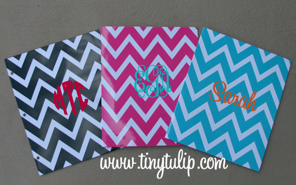 Monogrammed Chevron 2 Pocket Folder  www.tinytulip.com