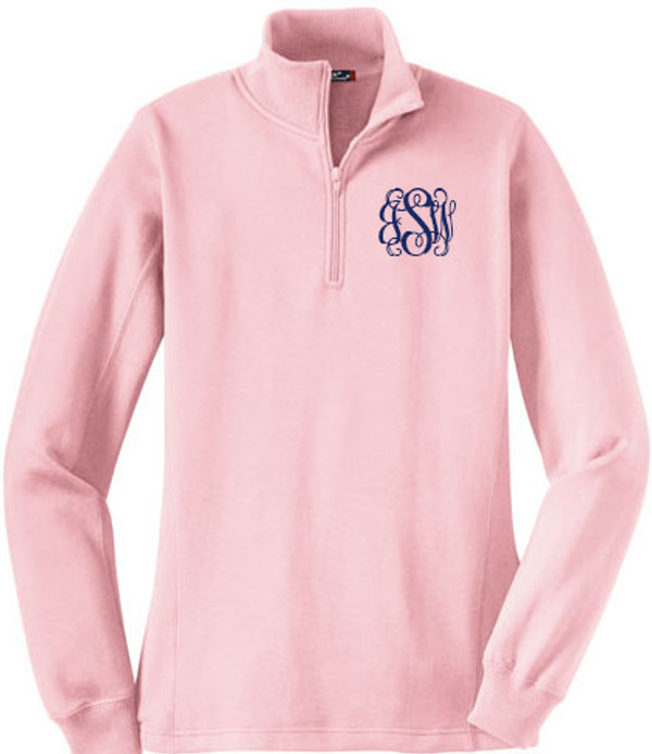 Monogrammed Quarter Zip Pullover Sweatshirt www.tinytulip.com Pink Jacket Interlocking Monogram