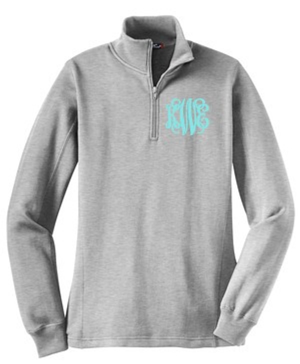 Monogrammed Quarter Zip Pullover Sweatshirt www.tinytulip.com Gray Jacket Interlocking Monogram