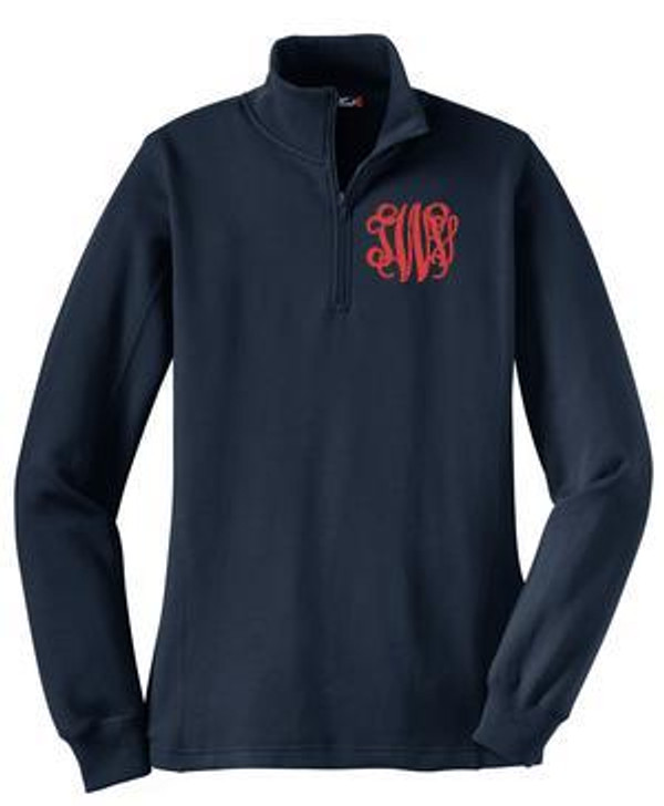 Monogrammed Quarter Zip Pullover Sweatshirt www.tinytulip.com Navy Jacket Interlocking Monogram