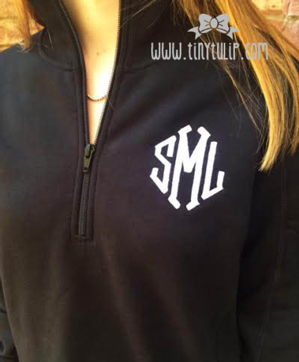 Monogrammed Quarter Zip Pullover Sweatshirt www.tinytulip.com White Diamond Font on a Black Pullover