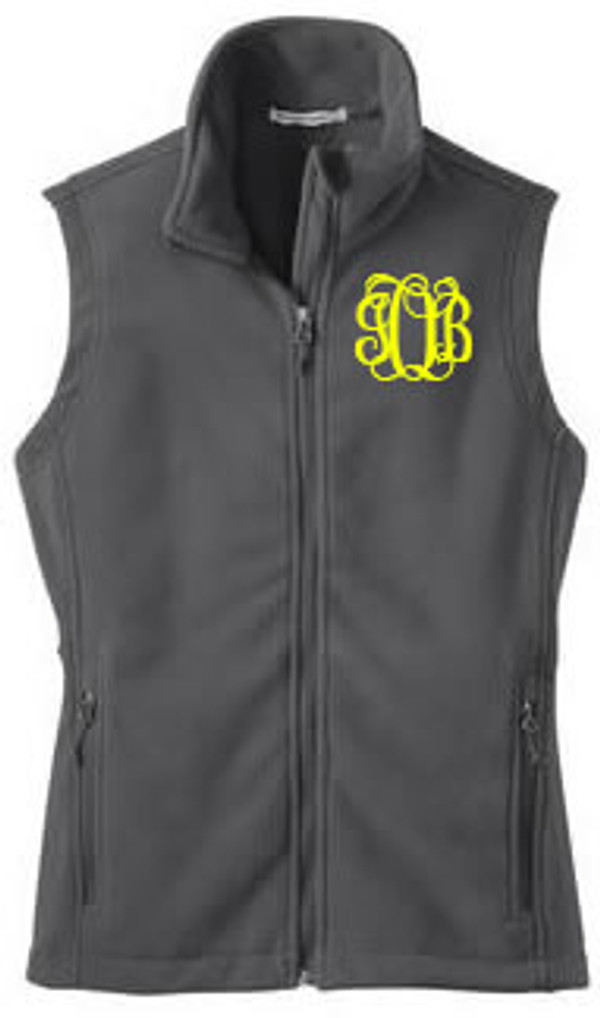 Monogrammed Ladies Full Zip Fleece Vest   www.tinytulip.com Gray Fleece Yellow Interlocking Font