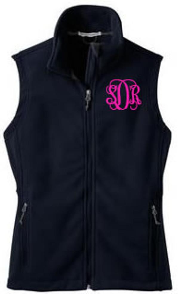 Monogrammed Ladies Full Zip Fleece Vest   www.tinytulip.com Navy Fleece Hot Pink Interlocking Font