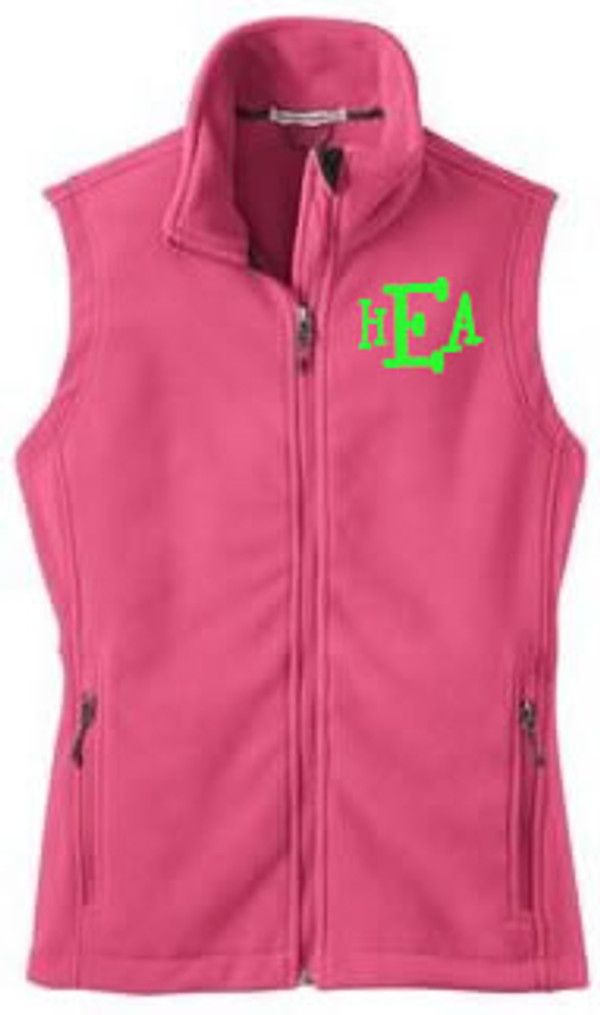 Monogrammed Ladies Full Zip Fleece Vest   www.tinytulip.com Pink Fleece Lime Green Boys R Gross Font