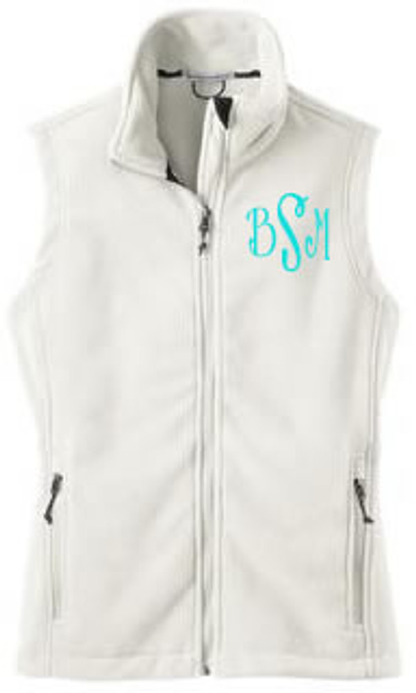 Monogrammed Ladies Full Zip Fleece Vest   www.tinytulip.com White Fleece Turquoise Flirty Font