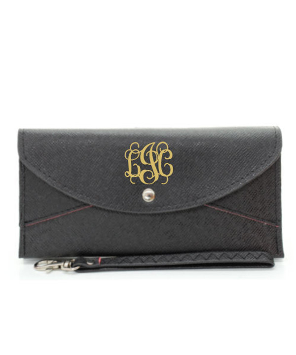 Monogrammed Snap Closure Wristlet Wallet  www.tinytulip.com Black Wallet Gold Interlocking Font