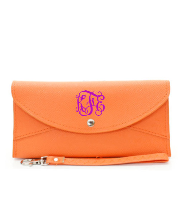 Monogrammed Snap Closure Wristlet Wallet  www.tinytulip.com Orange Wallet Purple Interlocking Font