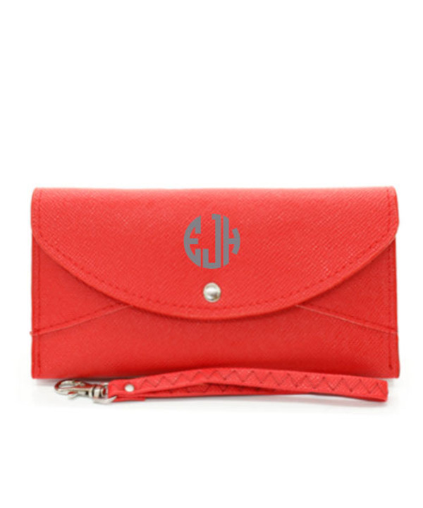 Monogrammed Snap Closure Wristlet Wallet  www.tinytulip.com Red Wallet Charcoal Gray Circle Font