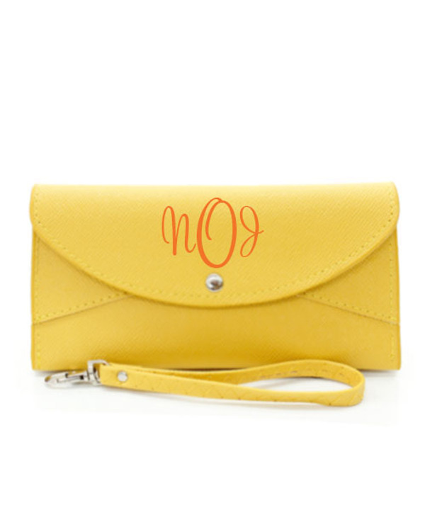 Monogrammed Snap Closure Wristlet Wallet  www.tinytulip.com Yellow Wallet Orange Cursive Font