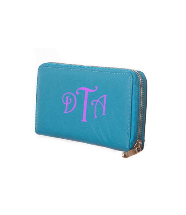 Monogrammed Zipper Wristlet Wallet  www.tinytulip.com Turquoise Wallet Purple Victorian Font