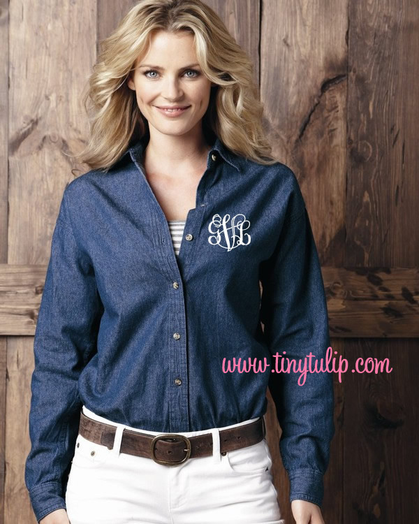 Monogrammed Ladies Denim Shirt www.tinytulip.com White Interlocking Font