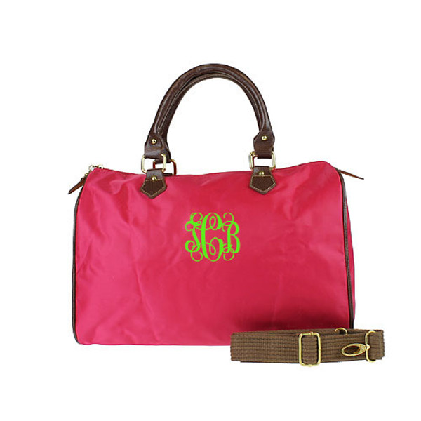 Monogrammed Longchamp Style Satchel Tote www.tinytulip.com Hot Pink Bag with Lime Green Interlocking Font