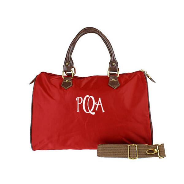 Monogrammed Longchamp Style Satchel Tote www.tinytulip.com Red Bag with White Flirty Font