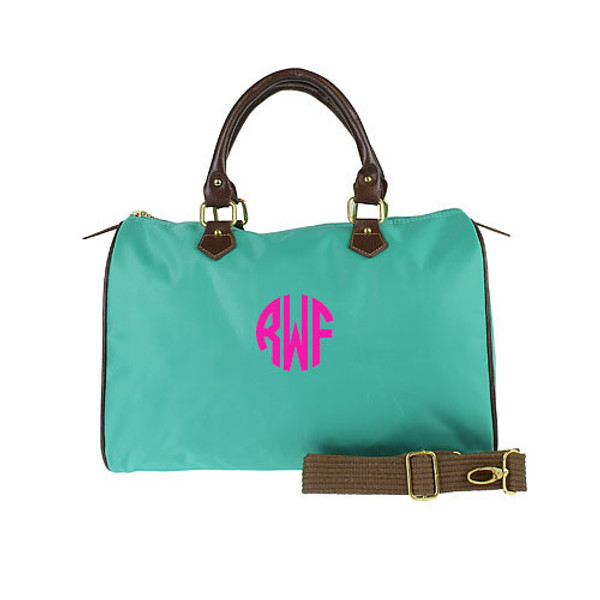 Monogrammed Longchamp Style Satchel Tote www.tinytulip.com Teal Bag with Hot Pink Circle Font