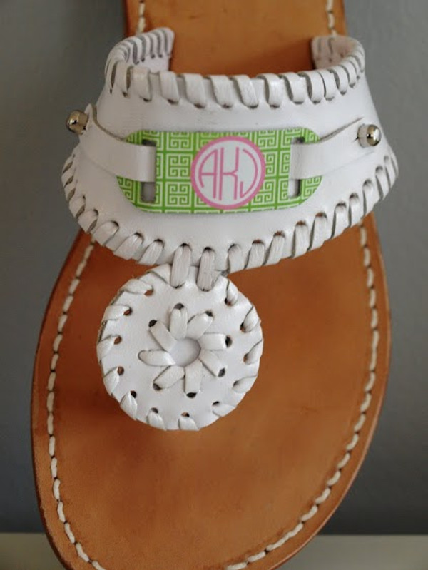 Monogrammed Leather Sandals & Slides www.tinytulip.com
