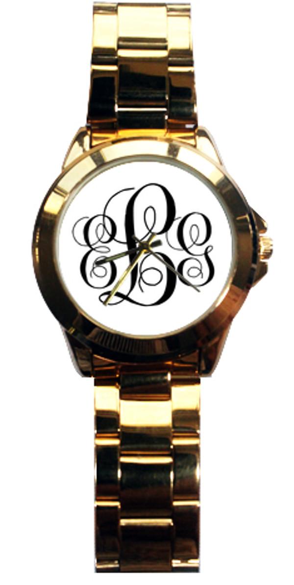 Monogrammed Custom Gold Tone Watch www.tinytulip.com Black Emma Font