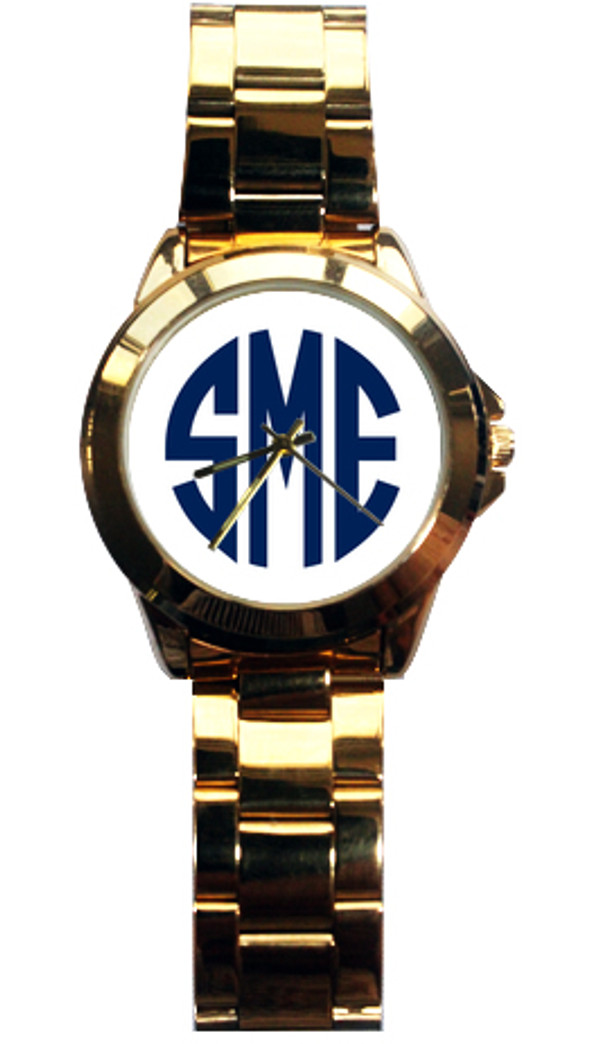 Monogrammed Custom Gold Tone Watch www.tinytulip.com Navy Circle Font