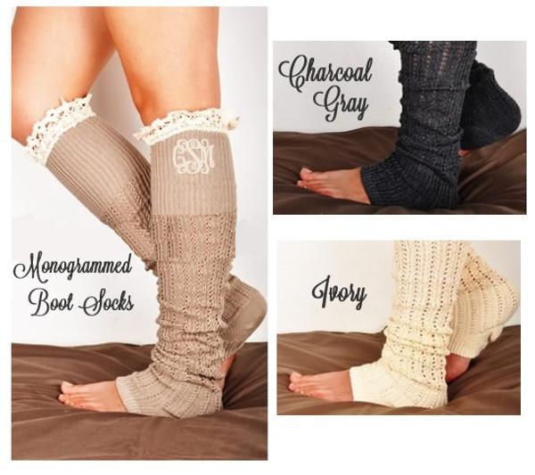 Monogrammed Crochet Lace Boot Socks Leg Warmers www.tinytulip.com