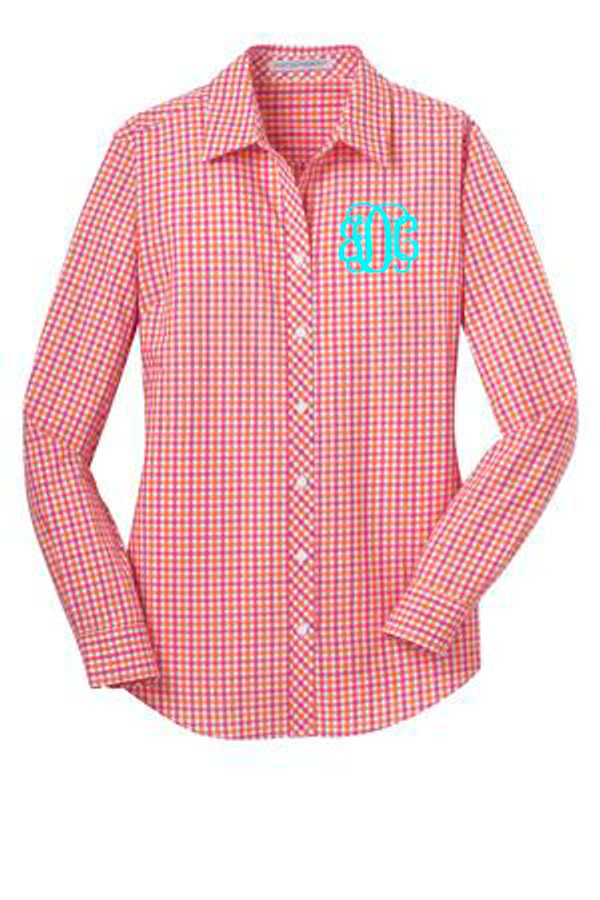 Monogrammed Ladies Gingham Plaid Shirt www.tinytulip.com
