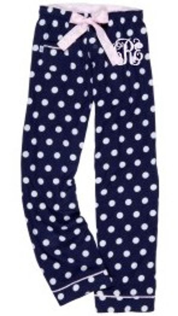 Monogrammed Flannel Polka Dot Lounge Pajama Pants  www.tinytulip.com