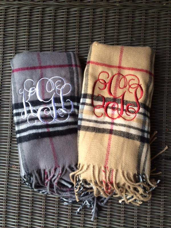 Monogrammed Plaid Cashmere Feel Winter Scarf  www.tinytulip.com