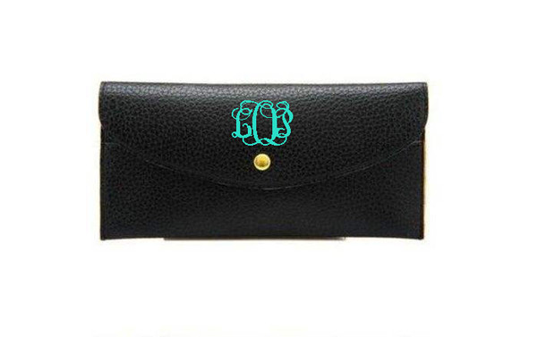 Monogrammed Snap Credit Card Wallet   www.tinytulip.com Black with Turquoise Interlocking Font