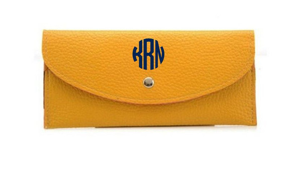 Monogrammed Snap Credit Card Wallet   www.tinytulip.com Mustard with Navy Circle Font