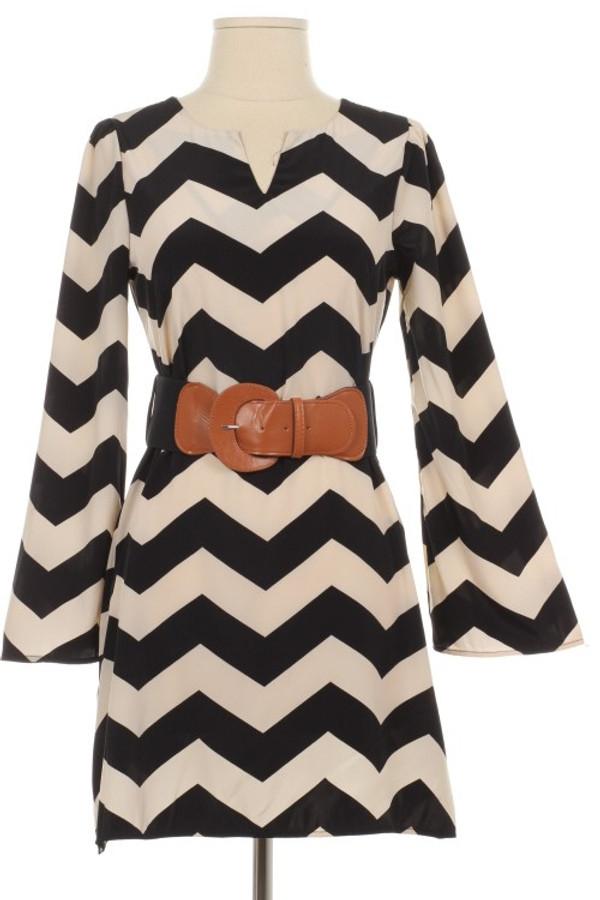 Black Chevron Belted Dress www.tinytulip.com