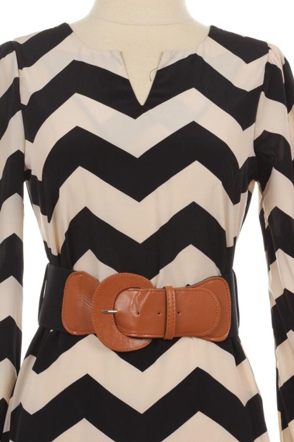 Black Chevron Belted Dress