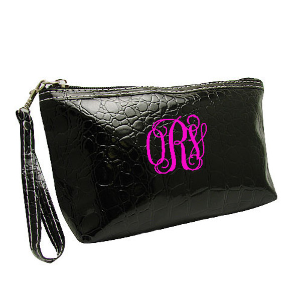 Monogrammed Croc Wristlet www.tinytulip.com Black Wristlet with Hot Pink Interlocking Font